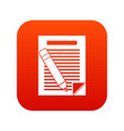 paper and pencil icon digital red vector image vector image