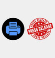 printer icon and distress press release vector image vector image