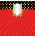 red background with shield and laurel wreath vector image vector image