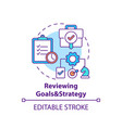 reviewing goals and strategy concept icon vector image