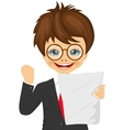 schoolboy celebrates holding paper with result vector image vector image