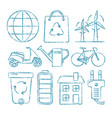 set of ecology icons in sketch style vector image vector image