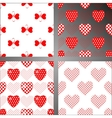 Set of four seamless backgrounds with hearts vector image