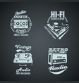 set of retro monocrome vintage logotypes vector image