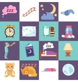Sleep time flat icons vector image