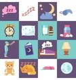 Sleep time flat icons vector image vector image