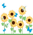 sunflowers-with-diferent-insects vector image