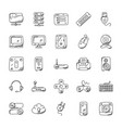 technology hand drawn icons vector image
