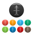telephone pole icons set color vector image vector image
