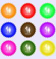 toilet icon sign A set of nine different colored vector image vector image