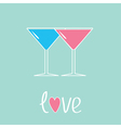 Two glasses of martini Love card vector image vector image