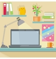Workplace with notebook lamp books and furniture vector image