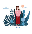 young girl in a pink sweater goes about his vector image vector image