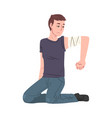 young man sitting on his knees with bandaging vector image vector image