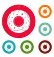 donut icons circle set vector image