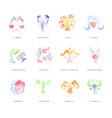 zodiac signs set of hand drawn watercolor vector image