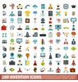 100 invention icons set flat style vector image vector image