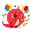 a dragon on party template vector image vector image