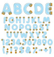alphabet numbers from vials tubes with corks vector image vector image