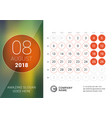 august 2018 desk calendar for 2018 year design vector image vector image