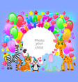 birthday party cute animal frame your baphoto vector image vector image