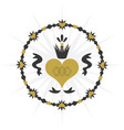 black and golden vintage royal circle ribbon heart vector image