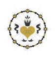 Black and golden vintage royal circle ribbon heart