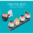 Business incubator Concept Find the best start up vector image