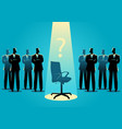 businessmen standing with empty chair vector image vector image