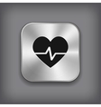 Cardiology icon - metal app button