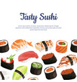 cartoon sushi types background vector image vector image