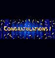 congratulations to gold lettering vector image vector image