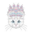 cute cat portrait with war bonnet on head vector image vector image