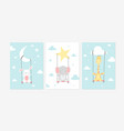 cute posters with rabbit elephant and giraffe vector image