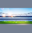 empty football stadium field view sunset flat vector image