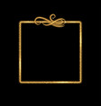 gold square frame golden glow glittering effect vector image