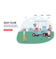 golf club banner on landing page - golfer woman on vector image vector image