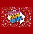 happy new year word bubble vector image vector image