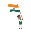indian boy kid teenager holding national flag vector image vector image