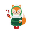 isolated cute fox is dressed in winter clothes vector image