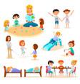 kindergarten characters flat icons set vector image vector image
