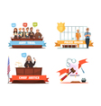 law justice 4 retro cartoon icons vector image vector image