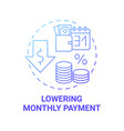 lowering monthly payment concept icon vector image vector image