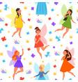 magic fairy pattern cute fairies princess flying vector image vector image