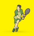 man tennis player action vector image