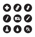 Medical center black icons set vector image