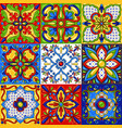 mexican talavera ceramic tile seamless pattern vector image vector image