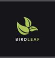 minimalist leaf bird logo icon template vector image