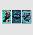 nautical vintage posters set retro style cartoon vector image vector image