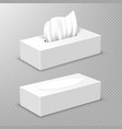 open and closed box with white paper napkins vector image vector image